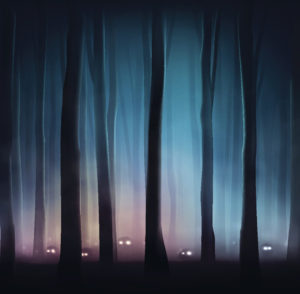 Monsters in dark forest. Illustration contains transparency and blending effects, eps 10